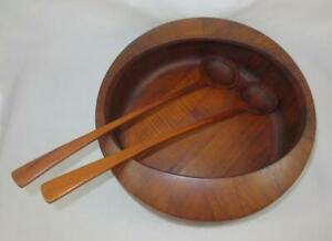 Mid Century Dansk Jhq Staved Teak Large Salad Bowl W Serving Spoons Early Mark