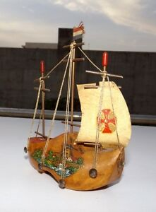 Antique Hand Crafted Shoe Shape Ship Model Vintage Old Wooden Model Ship Holland