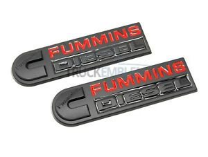 2 New Custom Black Red fummins Ford Dodge Diesel Swapped Badges