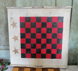 Primitive Game Board Made From Old Walnut Tray Red White Gold Star Paint