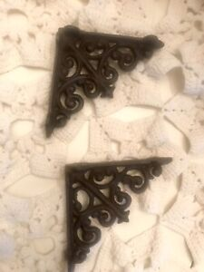 2 Vintage Cast Iron Shelf Hook Brackets
