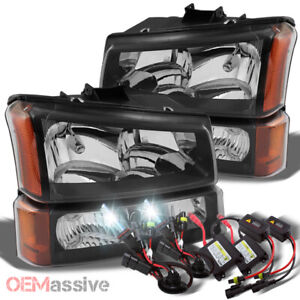 Fits 03 06 Silverado Black Headlights Bumper Signal Slim Ballast 6k Hid Kit