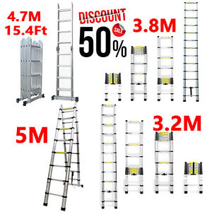 2 5 3 2 3 8 4 7m Telescopic Folding Step Ladders Extendable Scaffold Platforms