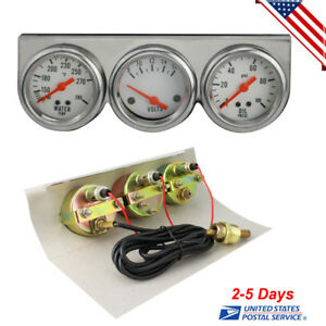Universal 50mm Oil Pressure Water Volt Triple 3 Gauge Set Gauges Kit Us Stock