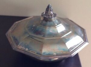 Vintage Sheffield Silver Plate Serving Tray Dome Lid Cover
