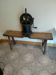 Reduced Vtg Enterprise Cast Iron 6 Quart Sausage Press On Antique Wood Bench