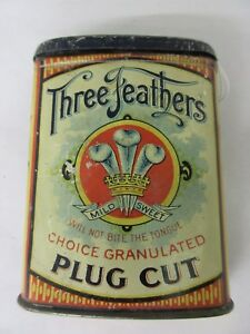 VINTAGE ADVERTISING TOBACCO THREE FEATHERS VERTICAL POCKET TIN   826