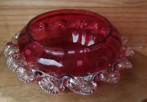 Antique Victorian Era Fine Cranberry Glass Rose Bowl