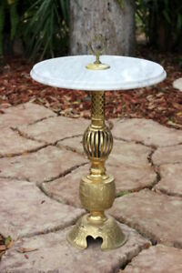 Vintage Marble Top Brass Pedestal Table Stand