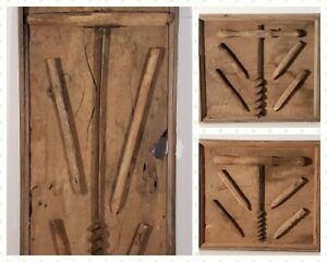 Primitive Augers And Pegs On Hand Made Displays 3 Total Great History Pieces