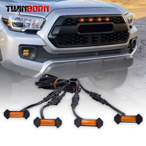 For 2016 2019 Toyota Tacoma Trd Pro Bumper Hood Grill Amber Led Marker Light Set