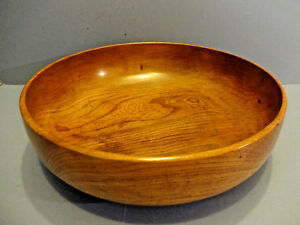 Large Hand Turned Elm Treen Bowl Signed P D Spears Henfield Sussex 1985