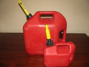 Two Red Blitz Gas Cans 5 Gal 1 Gal