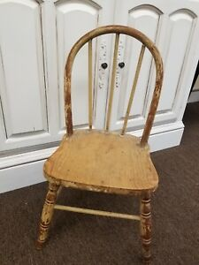 Child S Antique Spindle Back Chair Wood Primitive Shabby Chic Distressed