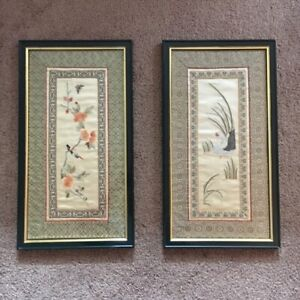 Pair Of Vintage Silk Japanese Embroidery Custom Framed Mint