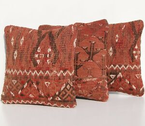 Red 3 Pillow Sham Cover Turkoman Square 30 Hand Woven Kilim Area Rugs 10 X10