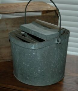 Vintage Deluxe Galvanized Metal Mop Wringer Bucket Pail With Wood Rollers