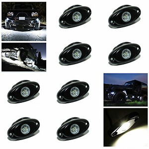 8x 2 9w White Led Rock Light For Jeep Offroad Truck Under Body Trail Rig Light