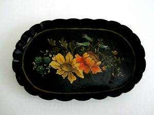 Vintage Antique Hand Painted Oval Small Mini Tole Tray Flowers