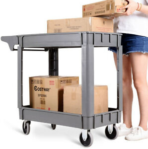 Plastic Utility Service Warehouse Rolling Cart Storage With 2 Shelves