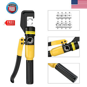 10 Ton Hydraulic Hand Crimper Plier Crimping Battery Terminal Cable Tool 8 Dies