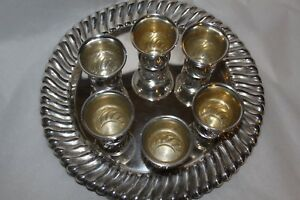 Sterling Liquor Set With Tray And 6 Matching Cups Beautiful Estate