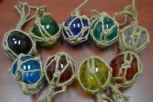 8 Pcs Reproduction Glass Float Ball With Fishing Net 3 Pick Your Colors