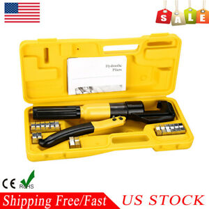10 Ton Hydraulic Crimper Plier Wire Cable Battery Terminal Lug Crimping Tool Kit