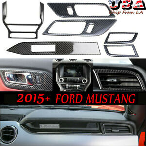 6pcs Carbon Fiber Interior Dashboard Console Trim For 2015 2020 Ford Mustang