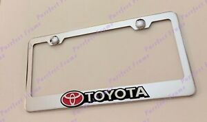 Toyota W Red Logo Tacoma Camry 3d Stainless Steel License Plate Frame Rust Free