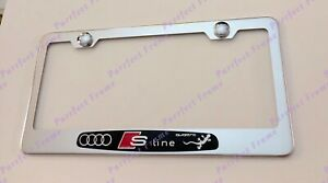 3d Audi Quattro S Line Stainless Steel License Plate Frame Rust Free W Caps