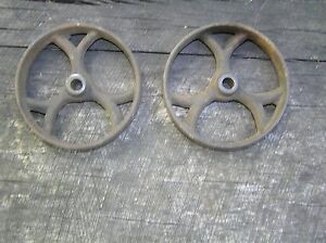 2 Antique Iron Wheels 4 3 8 Industrial Cart Excellent Condition