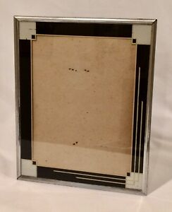 Vintage Art Deco Reverse Painted Glass 11x9 Picture Frame Checkered Black Silver