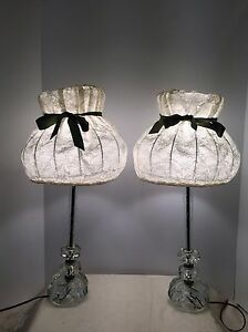 Vintage Pair Boudoir Etched Cut Crystal Table Lamps Candlestick W Silver Rings