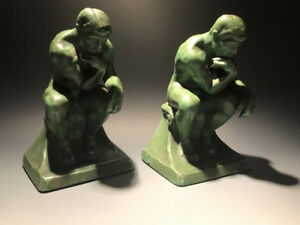 Pair Of Ronson Bookends Book Ends Art Deco Green Man In Deep Thought