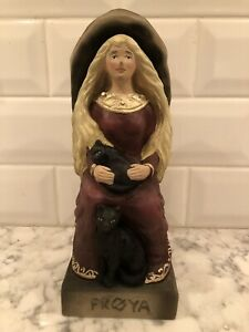 Large Henning Handcarved Norway 9 Inch Froya God On Throne With Cats