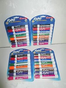 Expo Dry Erase Markers Chisel Tip Assorted Colors 8ct Pk Lot Of 4 Packs New