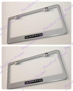 2x Quattro Audi S line 3d Emblem Stainless Steel License Plate Frame Rust Free