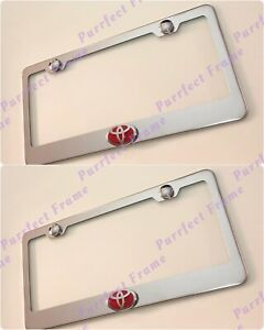 2x Toyota Red Logo 3d Emblem Stainless Steel License Plate Frame Rust Free