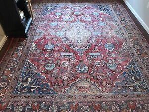 Large C 1880 Antique Persian Pictorial Archeological Kashmar Rug 12 9 X 9 9