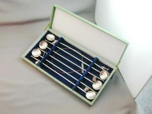 6 Vin Japanese Sterling Silver Ice Tea Spoons Straws Charms Cleaning Brush Nib