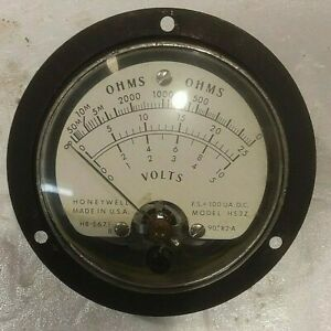 Vintage Honeywell Electric Instrument Meter Model H53z Ohm Volts Hermetic Seal