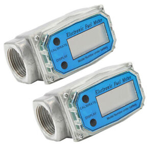 2pcs 1 Inch Turbine Digital Diesel Water Fuel Flow Meter Oval Gear Gauge