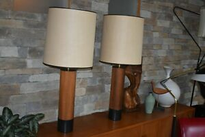 Large Vtg Mcm Danish Modern Teak Cylinder Table Lamp Pair 50 S 60 S