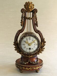 Antique French Lyre Clock With Walnut And Bronze Ormalu And Rhinestone Bezel