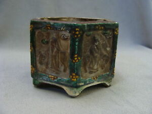 Antique Chinese Porcelain Brush Pot Vase Planter 6 Panels With Immortals