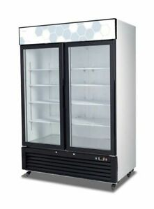 New Migali Double Glass Door Reach in Cooler 54 C 49rm Free Shipping
