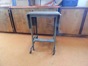 Vtg Mid Century Steampunk Typewriter Table Metal Wood Folding Industrial Desk