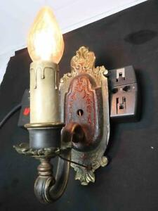 1 Vintage Cast Brass Sconce Wall Mounted Electric Light Fixture