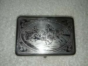 Authentic Russian Imperial Silver 84 Niello Cigarette Case With Essay Mark Ch